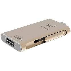PQI iConnect OTG iOS Flash Drive 128Gb (6I01-128GR3001) (золотистый)