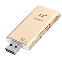 pqi iconnect otg ios flash drive 32gb (6i01-032gr3001) (золотистый)