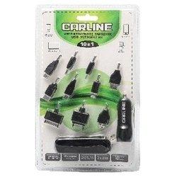 Автомобильное зарядное устройство 2xUSB 1A+2.1A (10 переходников в комплекте) (Carline CH-10-1B) (черный)
