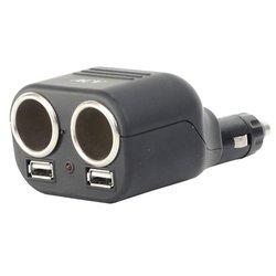 Разветвитель прикуривателя на 2 гнезда + 2 USB (ACV RM37-2011) (черный)