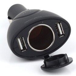 Разветвитель прикуривателя на 1 гнездо + 2 USB (ACV RM37-2010) (черный)