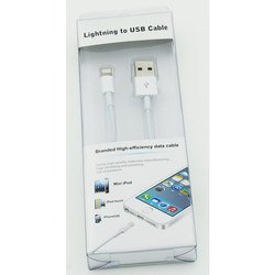 Дата-кабель Lightning - USB для Apple iPhone 5, 5C, 5S, 6, 6 plus, iPad 4, Air, Air 2, mini 1, mini 2, mini 3 (NoName) (белый)