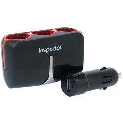 Разветвитель прикуривателя на 3 гнезда + 1 USB (Inspector AW-Z46) (черный)