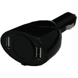 Разветвитель прикуривателя на 1 гнездо + 2 USB (Intego C-08) (черный)