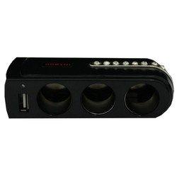 Разветвитель прикуривателя на 3 гнезда + 1 USB (Intego C-09) (черный)