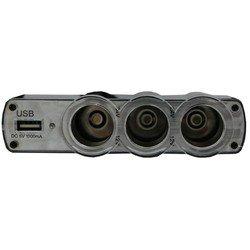 Разветвитель прикуривателя на 3 гнезда + 1 USB (Intego C-11) (черно-серебристый)
