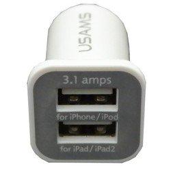 Разветвитель прикуривателя на 1 гнездо + 2 USB (Intego C-23) (белый)
