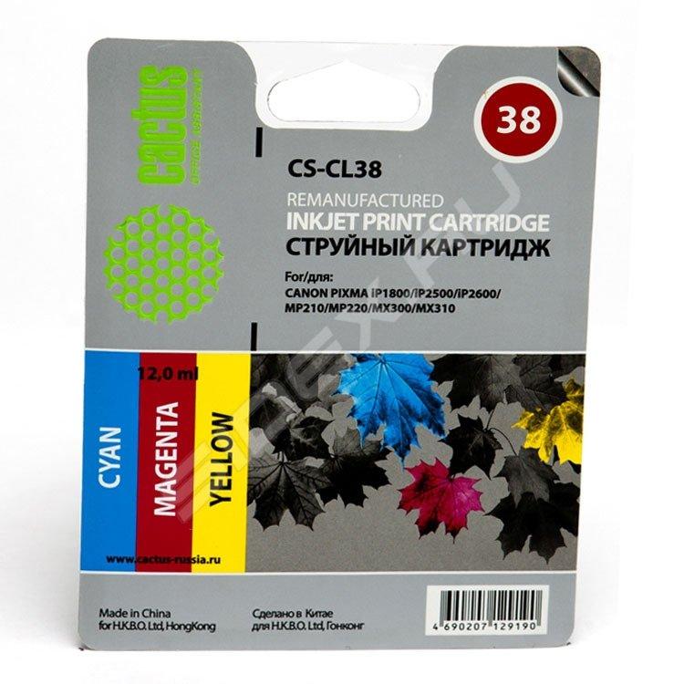 Картридж Cactus CS-CL38 для Canon PIXMA iP1800 iP250 /iP2600 MP210 220 MX300 310
