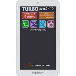 "turbo turbopad 712 rk3126 (1.2) 4c, ram512mb, rom8gb 7"" ips 1024x600, wifi, bt, 0.3mpix, 0.3mpix, android 4.4, белый, touch, microsdhc 32gb, minusb, 2500mah"