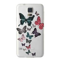 Чехол-накладка для Samsung Galaxy S5 (Deppa Art Case 100058) (Бабочки, прозрачный)