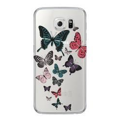 Чехол-накладка для Samsung Galaxy S6 (Deppa Art Case 100066) (Бабочки, прозрачный)