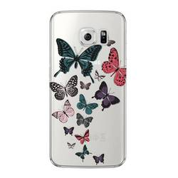 Чехол-накладка для Samsung Galaxy S6 Edge (Deppa Art Case 100070) (Бабочки, прозрачный)