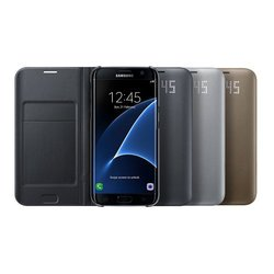 чехол-книжка для samsung galaxy s7 edge (view cover ef-ng935pbegru-d) (черный)