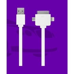кабель usb-lightning, 30pin, miniusb для apple iphone 2, 3g, 3gs, 4, 4s, iphone 5, 5c, 5s, se, 6, 6 plus, 6s, 6s plus, ipad 4, air, air 2, mini 1, mini 2, mini 3, mini 4, pro 12.9, pro 9.7 (oxion ox-udc001wh) (белый)