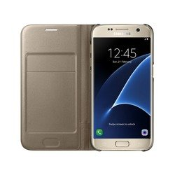чехол-книжка для samsung galaxy s7 (led view cover ef-ng930pfegru) (золотистый)