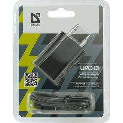 Сетевое зарядное устройство Defender UPС-01 + кабель USB - microUSB (152550)