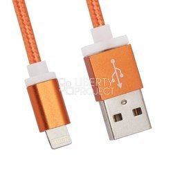дата-кабель lightning - usb для apple iphone 5, 5c, 5s, 6, 6 plus, 6s, 6s plus, ipad 4, air, air 2, pro 9.7, pro 12.9, pro, mini 1, mini 2, mini 3, mini 4 (lp 0l-00027328) (оранжевый)