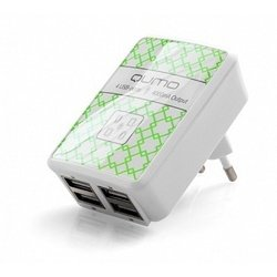 Универсальное сетевое зарядное устройство 4хUSB QUMO (белый)