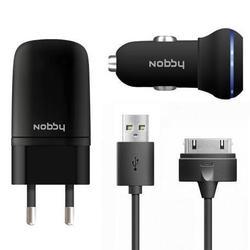 Сетевое+автомобильное зарядное устройство 30pin для Apple iPhone 3GS,4,4S, iPad,2,3 new, iPod Nano 6, touch 4 (Nobby Energy SC-001 + AC-001) (черный)