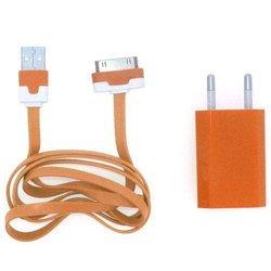 Сетевое зарядное устройство 1,2A + кабель USB 30pin для Apple iPhone 2, 3, 4 (М0038564) (оранжевое)