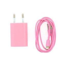 Сетевое зарядное устройство 1,2A + кабель USB 8pin для Apple iPhone 5, 5C, 5S, iPod nano, iPod TOUCH (М0040584) (розовый)