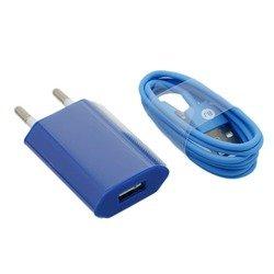 Сетевое зарядное устройство 1,2A + кабель USB 8pin для Apple iPhone 5, 5C, 5S, iPod nano, iPod TOUCH (М0943799) (синий)