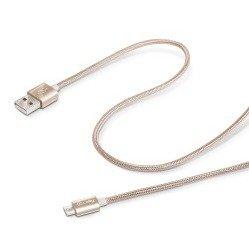 Дата-кабель USB - micro USB (Celly USBMICROTEXGD) (текстильный, золотистый)