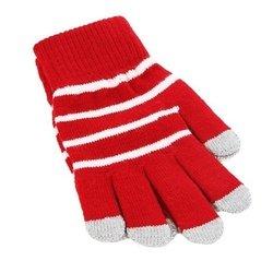 Перчатки для сенсорных экранов iCasemore (белые полоски, красный)