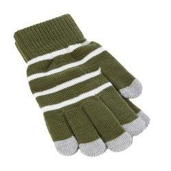 Перчатки для сенсорных экранов iCasemore (белые полоски, зеленый)