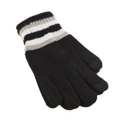 Перчатки для сенсорных экранов iCasemore (полосы на манжетах, черный)