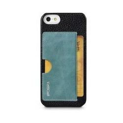 чехол-накладка для apple iphone 5, 5s (vetti craft prestige card holder) (black & vintage lake blue)