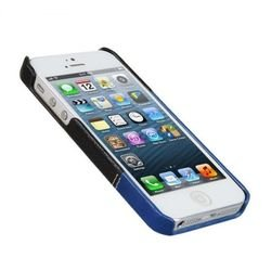 чехол-накладка для apple iphone 5, 5s (vetti craft prestige leathersnap) (black & vintage shine blue)