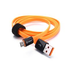 Дата-кабель USB - microUSB (Zetton Life Style Flat ZTLSUSBFCMCBO) (плоский, оранжевый, черный)