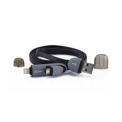 Дата-кабель Lightning, microUSB - USB для Apple iPhone 5, 5C, 5S, 6, 6 plus, 6S, 6S Plus, iPad 4, Air, Air 2, Pro 9.7, Pro 12.9, PRO, mini 1, mini 2, mini 3, mini 4 (Zetton ZTLSUSB2IN1FB) (черный)