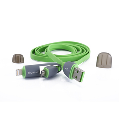 Дата-кабель Lightning, microUSB - USB для Apple iPhone 5, 5C, 5S, 6, 6 plus, 6S, 6S Plus, iPad 4, Air, Air 2, Pro 9.7, Pro 12.9, PRO, mini 1, mini 2, mini 3, mini 4 (Zetton ZTLSUSB2IN1BG) (зеленый)