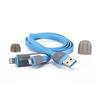 Дата-кабель Lightning, microUSB - USB для Apple iPhone 5, 5C, 5S, 6, 6 plus, 6S, 6S Plus, iPad 4, Air, Air 2, Pro 9.7, Pro 12.9, PRO, mini 1, mini 2, mini 3, mini 4 (Zetton ZTLSUSB2IN1BB) (голубой) - Usb, hdmi кабельUSB-, HDMI-кабели, переходники<br>Кабель позволит подключить к USB персонального компьютера любые устройства с 8-контактным разъемом Lightning или microUSB.<br>