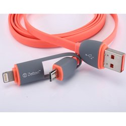 дата-кабель lightning, microusb - usb для apple iphone 5, 5c, 5s, 6, 6 plus, 6s, 6s plus, ipad 4, air, air 2, pro 9.7, pro 12.9, pro, mini 1, mini 2, mini 3, mini 4 (zetton ztlsusb2in1br) (красный)