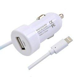 Автомобильное зарядное устройство Lightning - USB для Apple iPhone 5, 5C, 5S, 6, 6 plus, iPad 4, Air, Air 2, mini 1, mini 2, mini 3 (Henca CC28-IPA5) (белый)