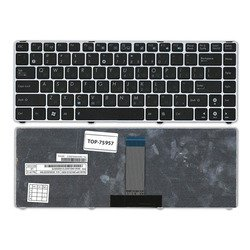 Клавиатура для ноутбука Asus U20, U20A, U24, U24A, U24E, UL20, UL20A, UL20F, UL20FT, Eee PC 1201, 1201H, 1201HA, 1201HAB, 1201HAG, 1201K, 1201N, 1201NL, 1201P, 1201PN, 1201T, 1215, 1215B, 1215N, 1215T, 1215P (TOP-75957) (черная, с серебристой рамкой)