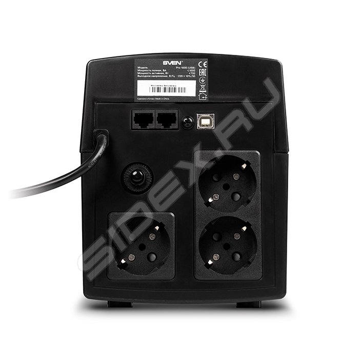 ИБП SVEN Pro 1000 1000VA/720W USB RJ-45 (3 EURO)