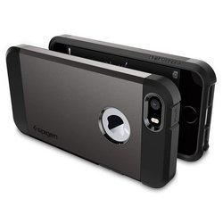 Чехол-накладка для Apple iPhone SE, 5S, 5 (Spigen Tough Armor 041CS20188) (стальной)