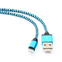 Кабель USB-Lightning для Apple iPhone 5, 5C, 5S, SE, 6, 6 plus, 6S, 6S plus, iPad 4, Air, Air 2, mini 1, mini 2, mini 3, mini 4, PRO 12.9, PRO 9.7 (Gembird/Cablexpert CC-ApUSB2bl1m) (синий)
