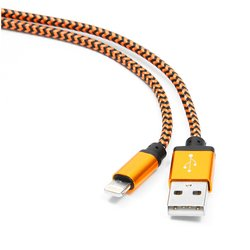 кабель usb-lightning для apple iphone 5, 5c, 5s, se, 6, 6 plus, 6s, 6s plus, ipad 4, air, air 2, mini 1, mini 2, mini 3, mini 4, pro 12.9, pro 9.7 (gembird/cablexpert cc-apusb2oe1m) (оранжевый)