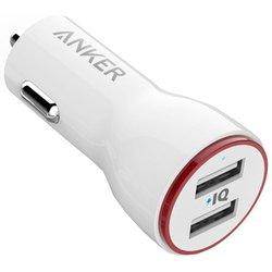 Универсальное автомобильное зарядное устройство 2хUSB, 4.8A (Anker A2310022) (белый)