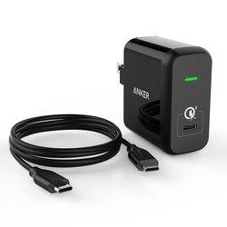 Универсальное сетевое зарядное устройство 1хUSB, 2.4A + кабель USB-C - USB-C (Anker A2012311) (черный)