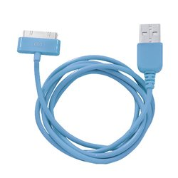 кабель usb - 30-pin для apple iphone 3gs, 4, 4s, ipad 2, 3 new, ipod nano 6, touch 4 (human friends super link rainbow c) (голубой)