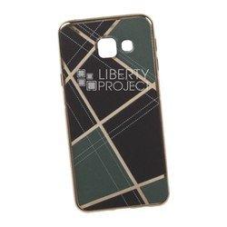 Силиконовый чехол-накладка для Samsung Galaxy A3 2016 (0L-00029561) (бежевая клетка, золотистый)
