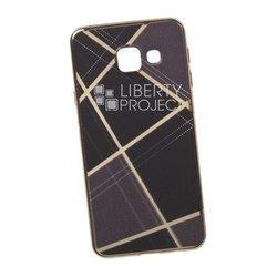 Силиконовый чехол-накладка для Samsung Galaxy A3 2016 (0L-00029579) (коричневая клетка, золотистый)