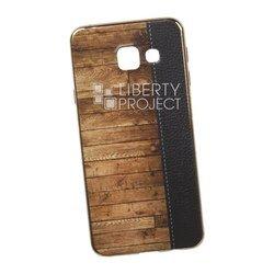 Силиконовый чехол-накладка для Samsung Galaxy A3 2016 (0L-00029525) (кожа и дерево, золотистый)