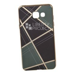 Силиконовый чехол-накладка для Samsung Galaxy A5 2016 (0L-00029562) (бежевая клетка, золотистый)